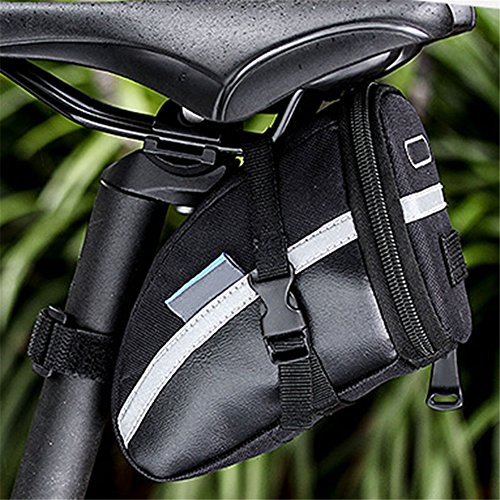 ASOSMOS 1.2L Bike Seat Saddle Wedge Pack Pannier Storage Bag Mountain Road Bicycle Bike Cycling PU Saddle Bag, Bicycle Repair Tools Pocket Pack Riding Cycling Supplies - Saddle Travel Zip Wallet