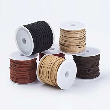 PandaHall Elite 30 Rolls 3mm Flat Micro Fiber Faux Leather Suede Cords Lace Velvet Beading String 5.5 Yard per Pack for Jewelry Making 30 Colors