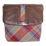 Leather Guild Design Studio Pell Mell Rhona in Brown and Pink Islay Tweed Cross Body Purse Bag