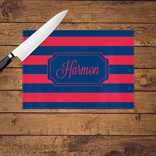 Personalized Red and Blue Stripe Glass Cutting Board