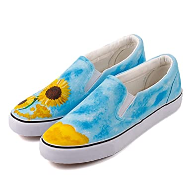 Vincent Van Gogh Artwork Sunflower Oil Hand Painting Canvas Shoes Women Men  Casual Loafers Lazy Shoes 7545f30ac