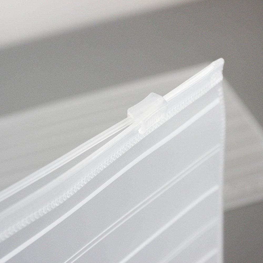 Grekywin Stripes Transparent Frosted Plastic Zipper Envelopes Document Storage Pouch Filing Bag Zip Folder Water Resistant, 10 Pcs (5 x A4, 5 x A5)