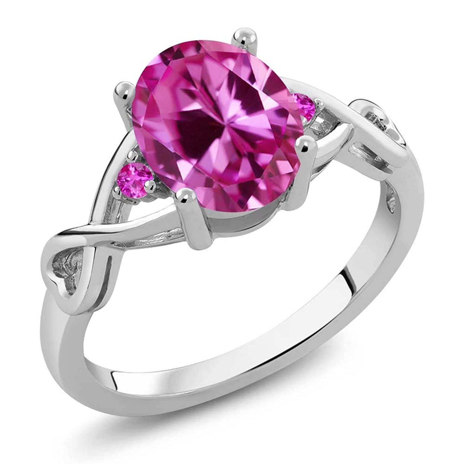 2.44 Ct Oval Pink Created Sapphire Pink Sapphire 925 Sterling Silver Ring