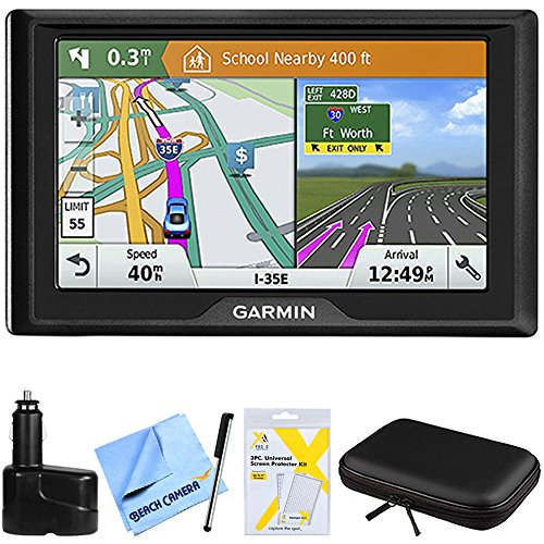 Garmin Drive 61 LM GPS Navigator with Driver Alerts USA (010-01679-0B) w/Accessories Bundle Includes, Dual 12V Car Charger, Hardshell Case for 7-Inch Tablets, Bamboo Stylus Mini + More (Garmin Gps Systems For Cars)