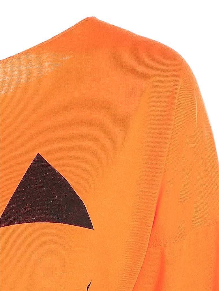 Vanbuy Womens Halloween Shirts Slouchy Off Shoulder Pumpkin Print Funny T-Shirt Long Sleeve Sweatshirts Pullover Tops