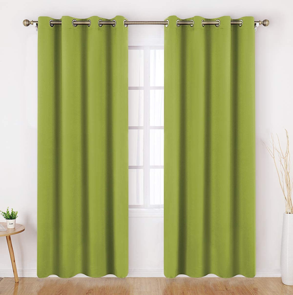 HOMEIDEAS Fresh Green Blackout Curtains 52 X 96 Inch Long Set of 2 Panels Room Darkening Bedroom Curtains, Thermal Grommet Light Bolcking Window Curtains for Living Room