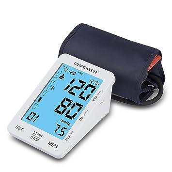 DBPOWER Tensiómetro digital para la parte superior del brazo, sensibilidad al tacto, muestra una alerta en ...