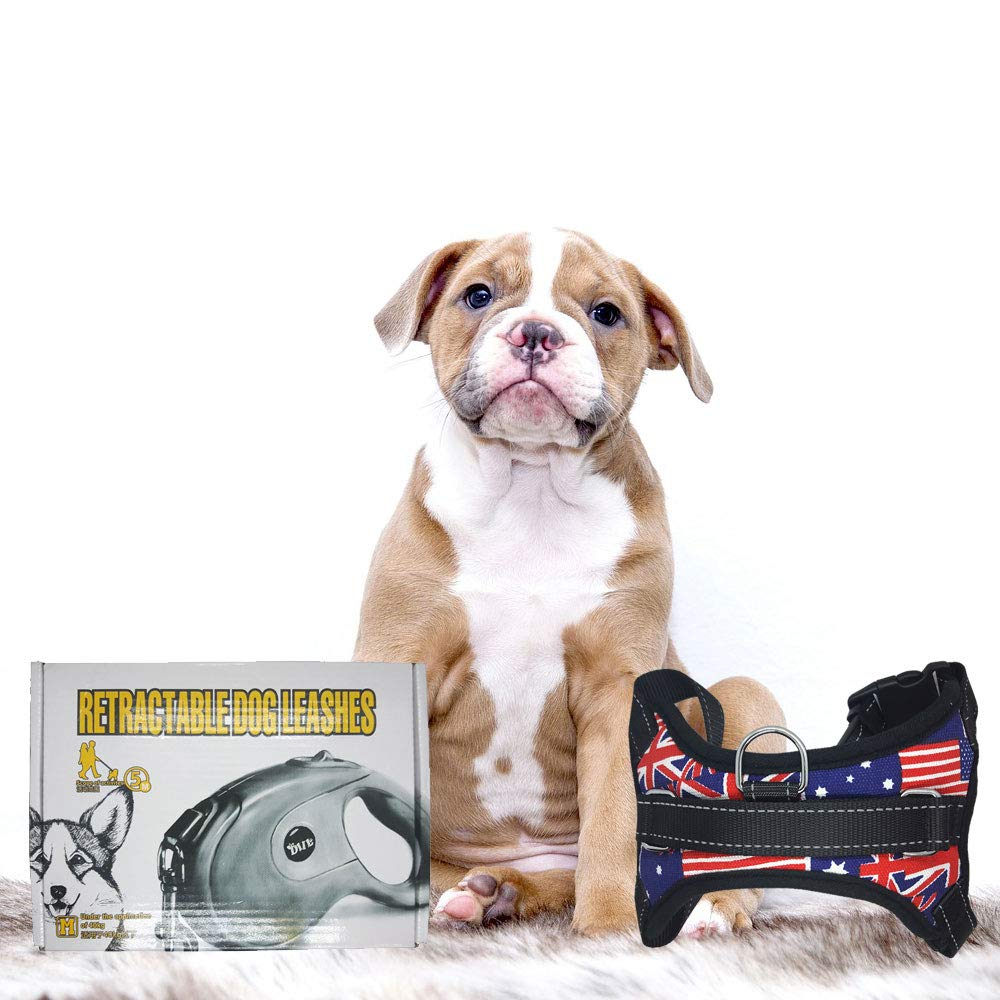 M Retractable Dog Leash Dog Harness Set Heavy Duty 16 feet Comfort Ergonomic Grip Reel Lead Sturdy, Strong, Durable, Extendable Nylon Ribbon Tape for Walking Medium Large Breed Dogs