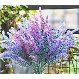 DiDaDi 4 Pcs Artificial Flowers Flocked Lavender Bouquet Romantic Fake Lavender Bunch in Purple Artificial Plant for Home Wedding Garden Decor(Mixed) 4