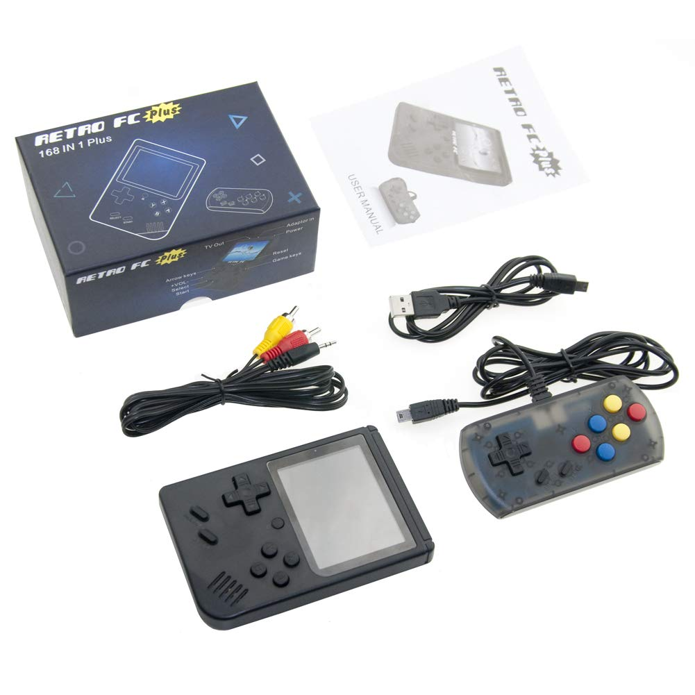 Retro Mini Handheld Game Console Built-in 168 Games 3 Inch Screen Video Game & Extra Controller Support TV Plug & Play Video Games by EVVE (Image #4)