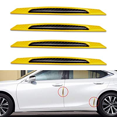 Reflective Tape Door Edge Guards Carbon Fiber Pattern Self-Adhesive Warning Safety Reflector Strips Sticker Car Door Protection Strip Universal Auto Replacement Door Protector-4pcs Yellow: Automotive