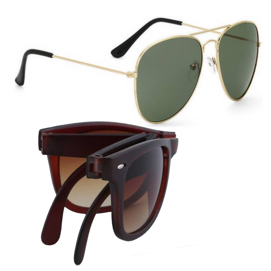 ELLIGATOR UV Protected Folding Unisex Sunglasses Combo (3| Green, Brown)