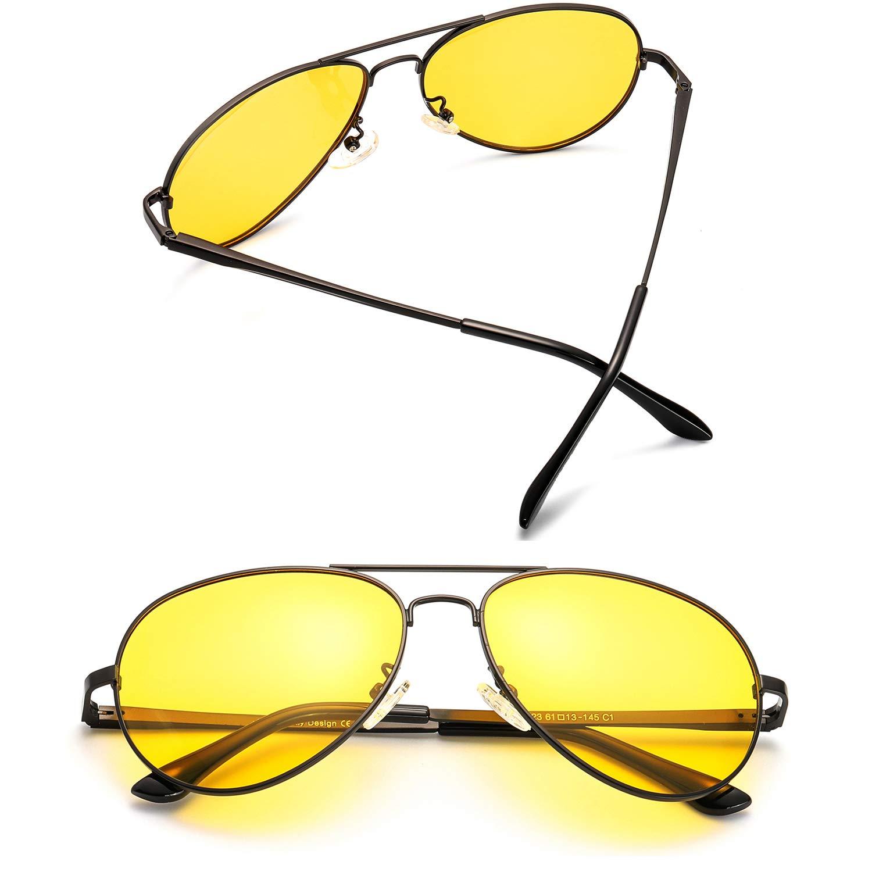 0e5f66f483 Clásico Aviador HD Gafas de Visión para Conduccion Nocturna Hombre Mujer  Polarizadas Lente Amarilla Anti Reflectante - 100% UVA/UVB Protección  (Marco Negro ...