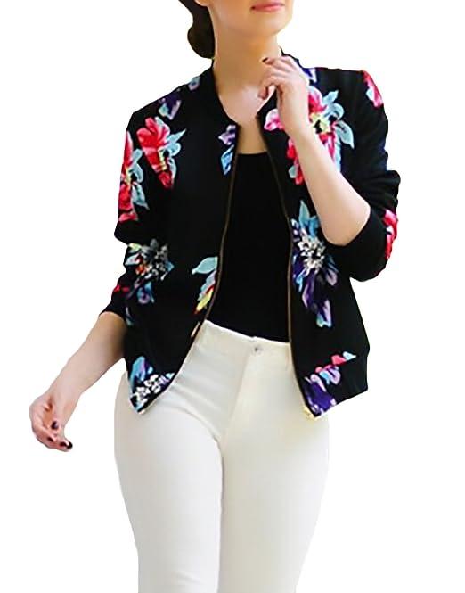 Chaqueta De Verano Mujer Elegantes Moda Joven Manga Larga 3D Impreso Digitalmente Patrón Slim Fit Cazadoras Abrigos Splice con Cremallera Casual Vintage ...