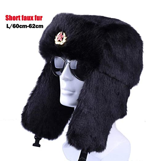 8447c8d696de3 Winter Russian Ushanka Bomber Hat Soviet Badge Army Military Hats Faux  (Black)