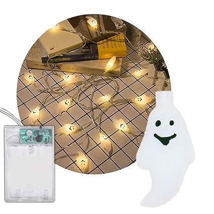 Lianqi Con Pilas 2M / 6.6ft 20LED Cadena Fantasma Luces de Alambre para la Navidad, Halloween, Fiesta, Barbacoa, decoración de la Boda-Blanco cálido