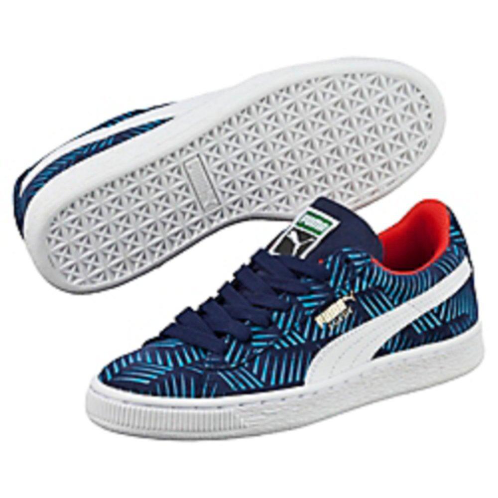 PUMA Suede Geofetti JR Sneaker (Little Kid/Big Kid), Peacoat/Blue Jewel/White, 3 M US Little Kid