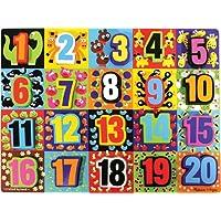 Rompecabezas macizo de madera de los números Melissa y Doug Jumbo (20 piezas)