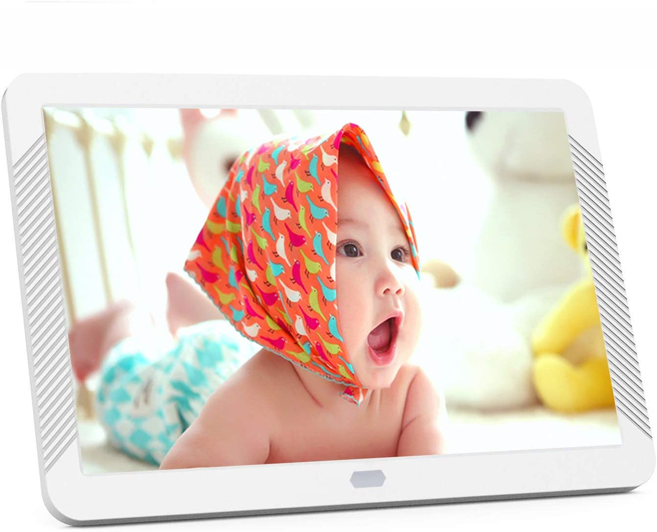 8 Inch Digital Photo Frame with 1920×1080 IPS Screen, Digital Picture Frame Support Adjustable Brightness, Photo Deletion, 1080P Video, Music,Slideshow,Remote,16 9 Widescreen,Suppot 128GB SD Card, USB