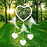 Handfly Heart Shape Dream Catcher for Bedroom Wall Feather Dream Catcher Pendant Traditional Feather Hanging Ornament Home Wall Decoration Home Ornament Craft Hanging Decoration Wind Chime