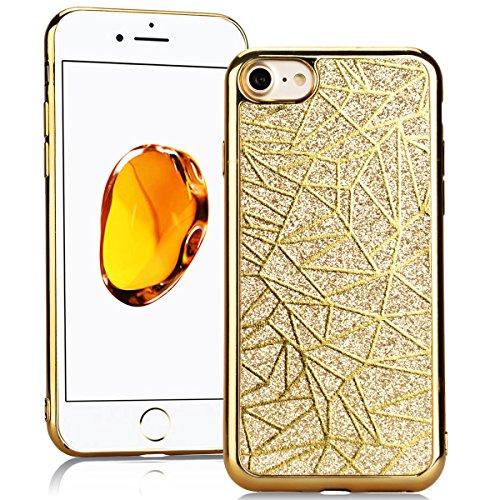 SMARTLEGEND Silicone Morbido Cover Per iPhone 7, Anti-Graffio TPU Case Cover, Ultra Glitter Protettiva Guscio Protettivo, Anti-Shock Soft Cover, Durevole Soft Case - Oro