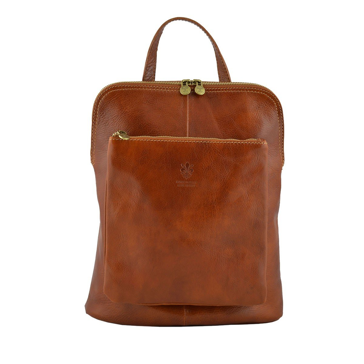 Made In Italy Genuine Leather Backpack Shoulder Bag Color Cognac - Backpack B06XNM5W9R