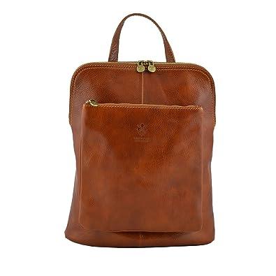 6bea9ebe735ed Rucksack Schultertasche Aus Echtem Leder Farbe Cognac - Italienische  Lederwaren - Rucksack