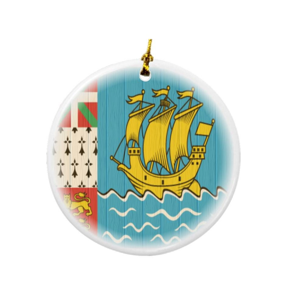 Rikki Knight Saint Pierre and Miquelon Flag on Distressed Wood Design Round Porcelain Two-Sided Christmas Ornaments