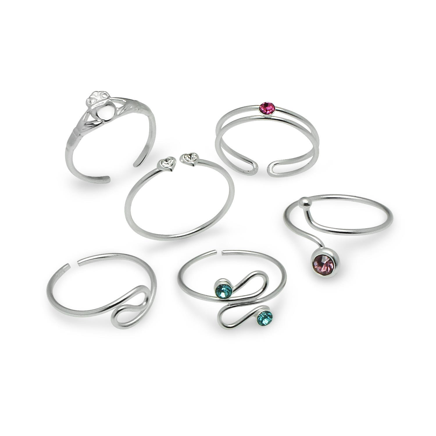 Sterling Silver Adjustable Toe Rings Set of 6 Pieces - Great as Thumb Rings by Silverline Jewelry
