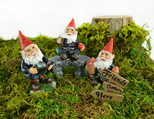 Fairy Garden Sets in Resin with Fine Detailing (Friends Gather Here Gnomes, Bench and Sign) - Resin Gnome