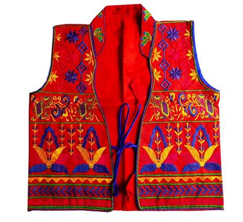 Hippie Vintage Vest (PULAA Red Vintage Indian Banjara Waist Coat Embroired Festival Indie Hippie Vest)
