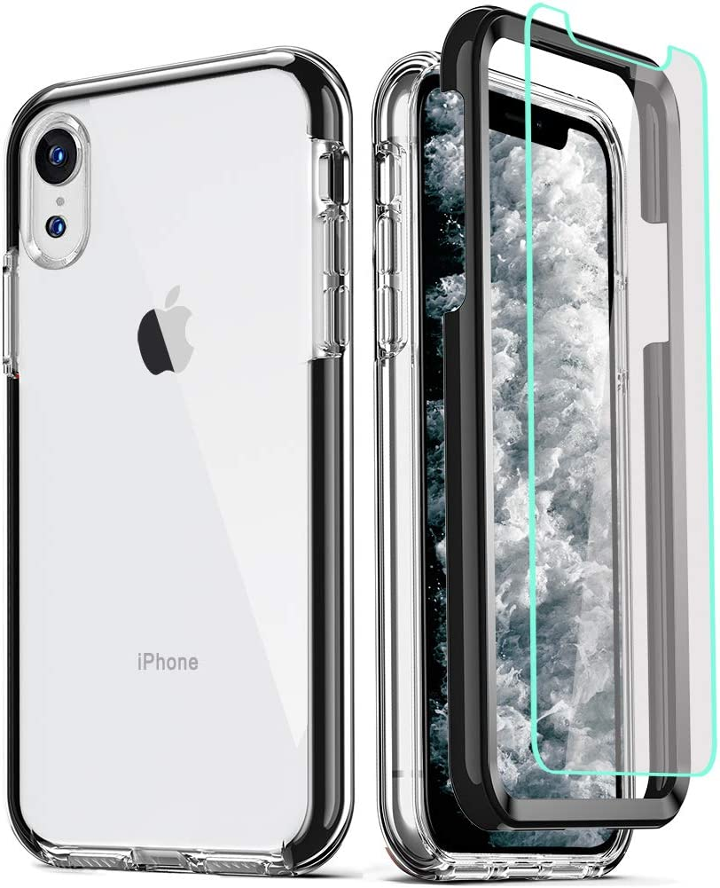 COOLQO Compatible for iPhone XR Case, with [2 x Tempered Glass Screen Protector] Clear 360 Full Body Coverage Hard PC+Soft Silicone TPU 3in1 Heavy Duty Shockproof Defender Phone Protective Cover Black