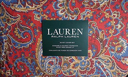 Ralph Lauren 3 Piece Duvet Cover Set Paisley Red Blue and Brown FULL/ QUEEN](Ralph Lauren Linens)