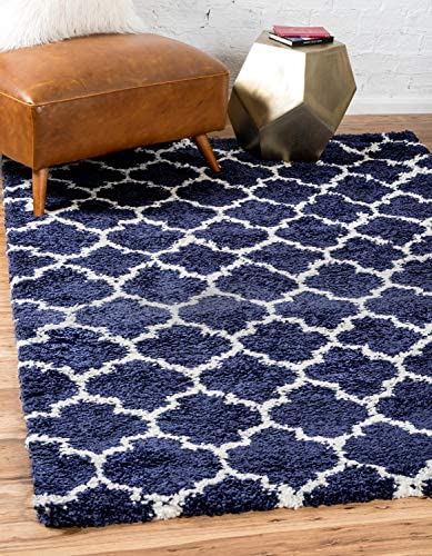 Unique Loom Rabat Shag Collection Lattice Trellis Geometric Moroccan Plush Navy Blue Area Rug 9 0 x 12 0