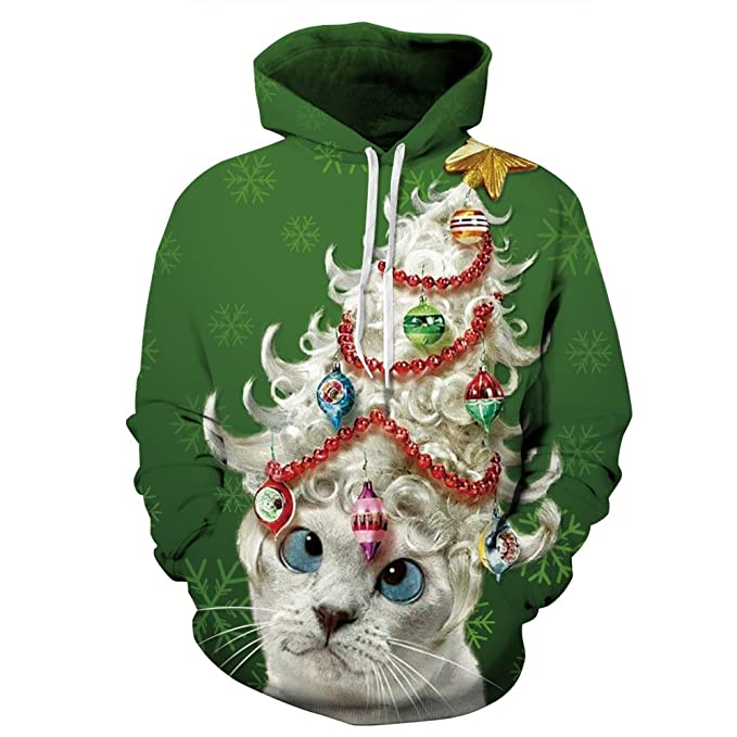 Cfanny Couple Cute 3D Santa Print Ugly Christmas Kangaroo Pocket Sweatshirt Hoodies Pullover