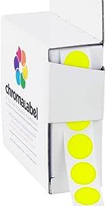 ChromaLabel 1/2 Inch Round Permanent Color-Code Dot Stickers, 1000 per Dispenser Box, Fluorescent Yellow