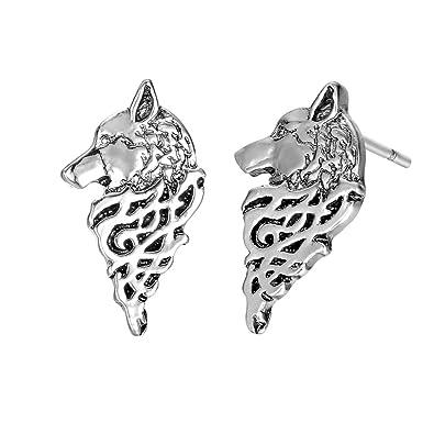 Wolf Crescent Moon Punk Earrings for Women Female Odin 's Symbol of