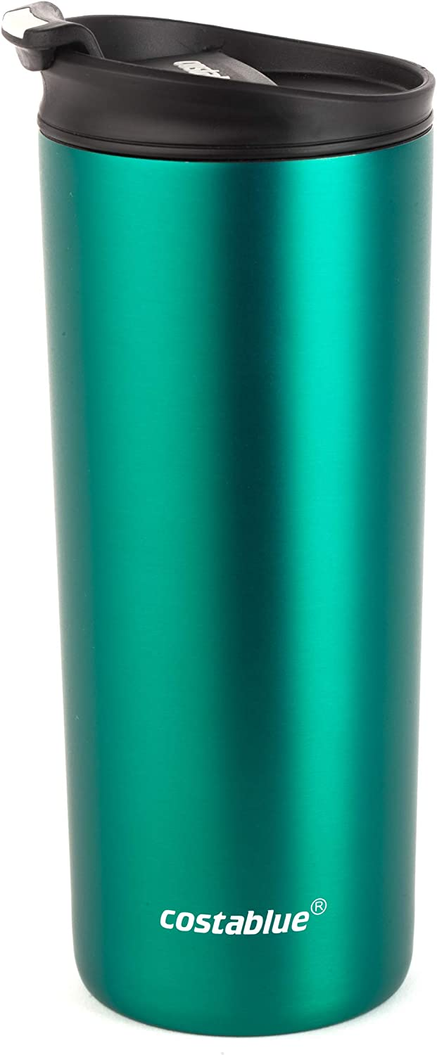 Costablue Vacuum Insulated Stainless Steel Travel mug, 16 Oz Easy to clean and leak proof lid, Color Matte Green