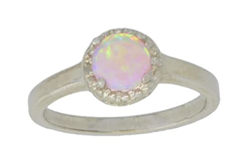 Elizabeth Jewelry Simulated Pink Opal Diamond Round Ring .925 Sterling Silver Rhodium Finish