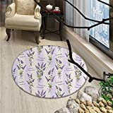 Lavender Round Area Rug Carpet Stripes and Flowers with Ribbons Romantic Country Home Decoration Spring Season DesignOriental Floor and Carpets Purple