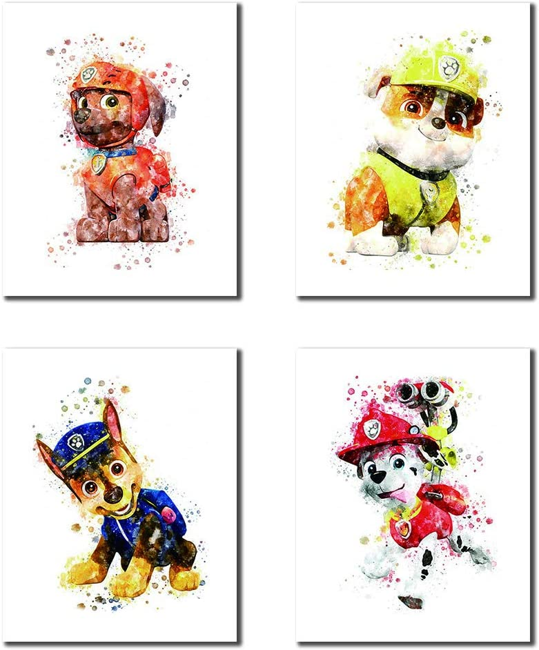 "VOUORON Cartoons Paw Patrol Theme Art Prints Set of 4 (8""X10"" Canvas Picture) Kids Boys Room Decor Paw Patrol Party Game Room Kindergarten Art Oil Painting Art Frameless"