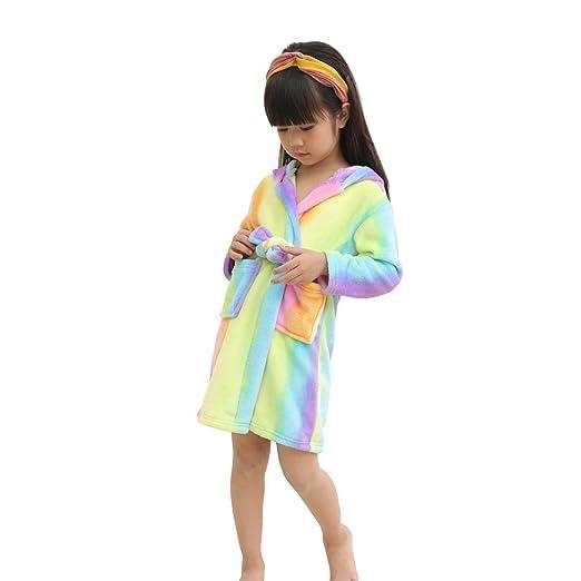 d42340adbb Amazon.com  LANTOP Kids Soft Bathrobe Comfy Unicorn Flannel Robe Unisex  Hooded Gift All Seasons Sleepwear  Clothing