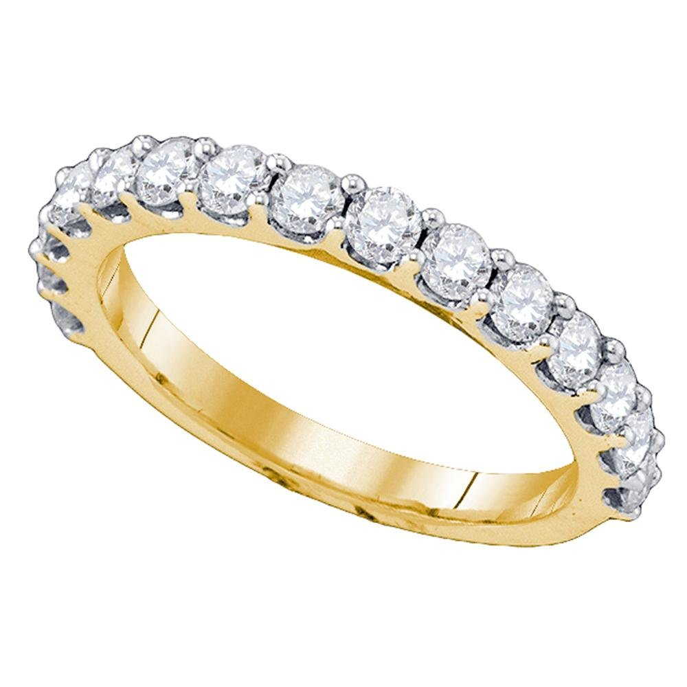 Round Diamond Wedding Band Solid 10k Yellow Gold Womens Bridal Ring Semi Eternity Style Polished 1.00 ctw