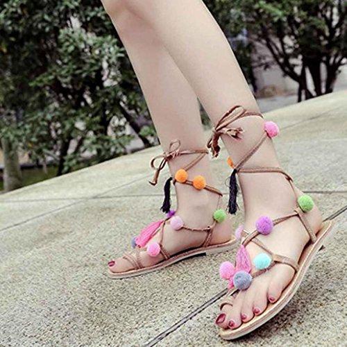 Elevin (tm) Kvinnor Sommar Strand Pom Pom Lollipop Färgstarka Pärlstav Skal Flipflop Sandaler Skor Khaki