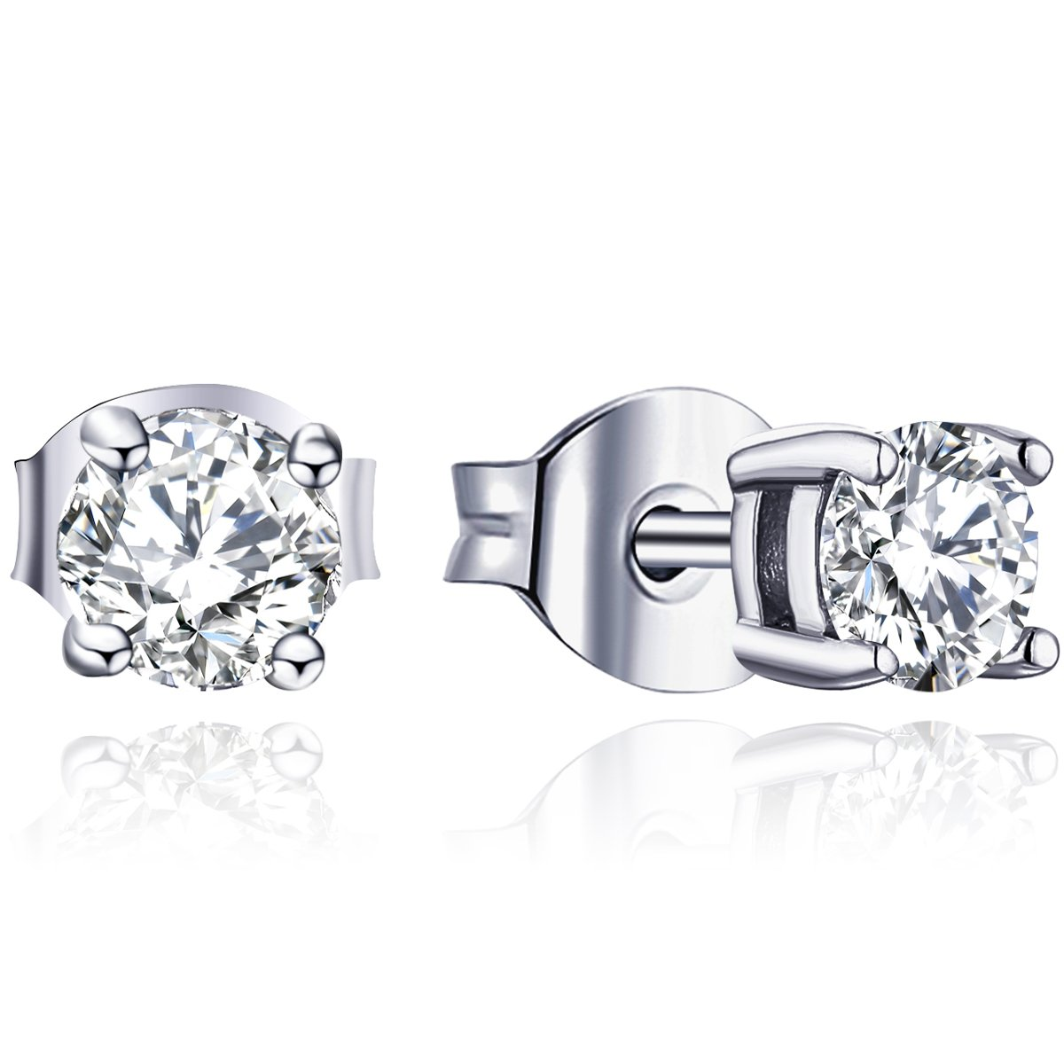 85003ca7d Amazon.com: YL 18K White Gold Solitaire Moissanite Stud Earrings, 0.5 Cttw:  Jewelry