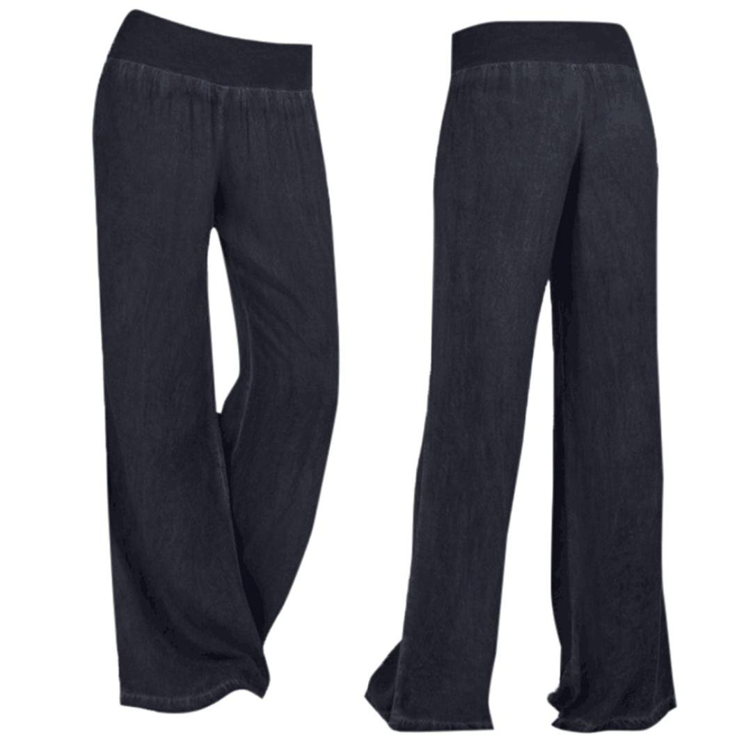 8e2aeefb87b7d Amazon.com: HTHJSCO Collection Women's Cotton Pull-on Pant with Elastic  Waist, Wide Leg Palazzo Pants Jeans Trousers: Clothing