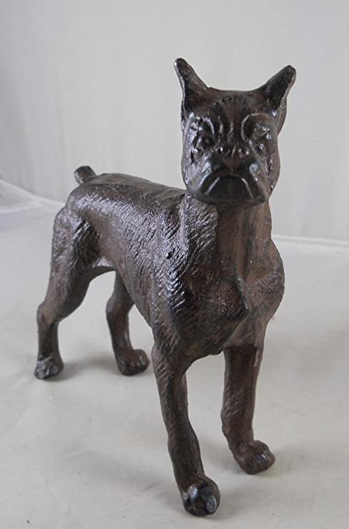 Cast Iron Standing Boxer Dog Statue