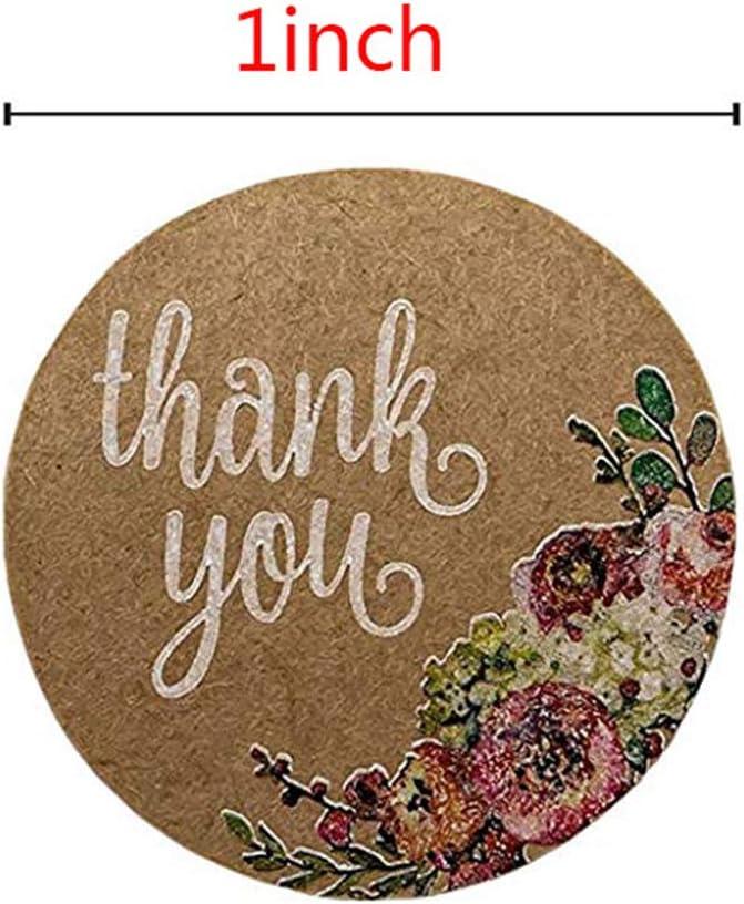 Roll Gracias Etiqueta Autoadhesiva o Boda DIY Floral Eco Friendly Papel Kraft Envoltorio Regalo Decorativo navide/ño LNIMIKIY Etiqueta engomada 500pcs