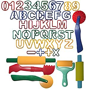 Strokes Art Durable Clay and Dough Tools 46 Piece Set Educational Shapes - Create Hours Of Creativity - Ages 3 & Up - Includes Handy Storage Bag