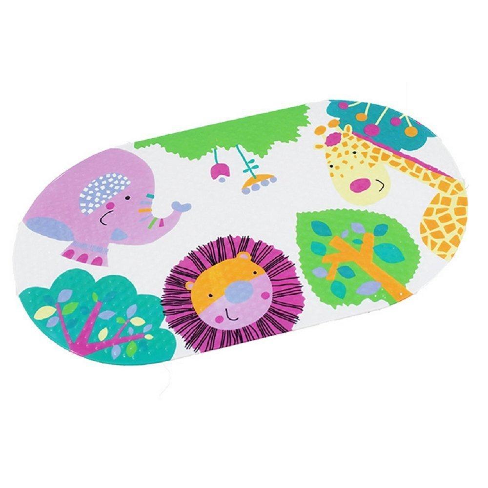 Nihoooo Baby Kids Bath Mat for Tub - Colorful Sea Non Slip Sticker Shower Mats for Bathtub/Bathroom - Durable Mildew Resistant Anti Bacterial PVC (Animals)